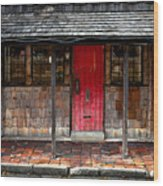 Old Red Door Wood Print