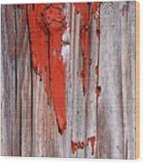 Old Red Paint Wood Print