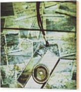 Old Retro Film Camera In Creative Composition Wood Print