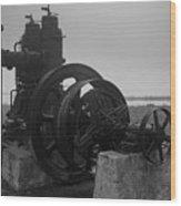 Old Rice Field Pump Bw Wood Print