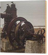 Old Rice Well Pump Wood Print