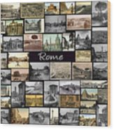 Old Rome Collage Wood Print by Janos Kovac