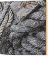Old Ropes On Dock Wood Print