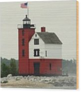 Old Round Island Point Lighthouse Michigan Wood Print