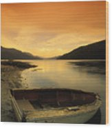 Old Rowboat At Waters Edge With Sunset Wood Print by Don Hammond