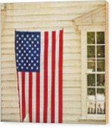 Old Rugged Field Flag Wood Print