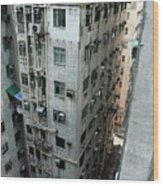 Old Run-down Concrete High-rise Apartment Buildings In Kowloon Wood Print