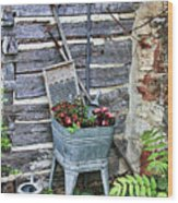 Old Rural Garden Scene Wood Print