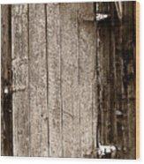 Old Rustic Black And White Barn Woord Door Wood Print