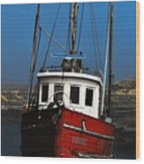 Old Rustic Red Fishing Boat Wood Print
