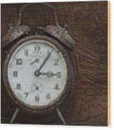 Old Rustick Clock Wood Print