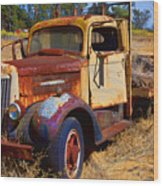 Old Rusting Flatbed Truck Wood Print