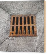 Old Rusty Street Grate Near The Sea In Cres Wood Print