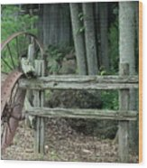 Old Rusty Wagon Wheels And Weathered Fence Wood Print