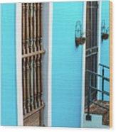 Old San Juan House In Historic Street In Puerto Rico Wood Print