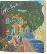 Old San Juan Street Scene Wood Print