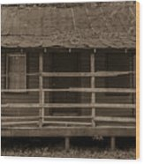 Old Shack In Sepia Wood Print
