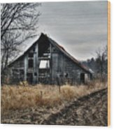 Old Shed Left By Itself Wood Print by Laurie With