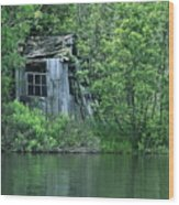 Old Shed On The Lake Wood Print by Marjorie Imbeau