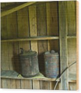 Old Shed Storage Wood Print