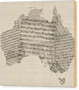 Old Sheet Music Map Of Australia Map Wood Print