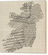 Old Sheet Music Map Of Ireland Map Wood Print