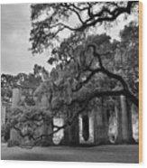 Old Sheldon Church Ruins Black And White 3 Wood Print