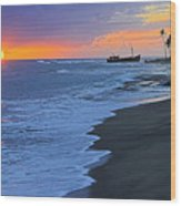 Old Shipwreck At Sunset - St Lucia Wood Print