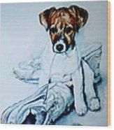 Old Shoe Pup Wood Print