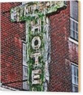 Old Simpson Hotel Sign Wood Print