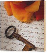 Old Skeleton Key On Letter Wood Print