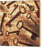 Old Skeleton Keys On Sheet Music Wood Print by Garry Gay