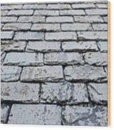 Old Slate Tiles Wood Print