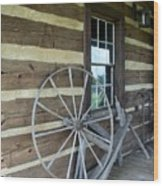 Old Spinning Wheel Wood Print