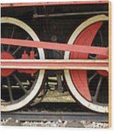 Old Steam Locomotive Iron Rusty Wheels Wood Print