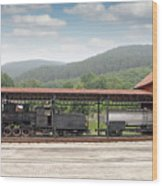 Old Steam Locomotive On Railway Station Wood Print