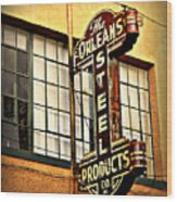 Old Steel Neon Sign Wood Print