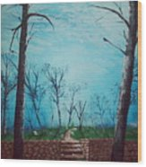 Old Steps To The Horizon Wood Print