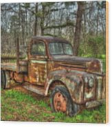 Old Still Art 1947 Ford Stakebed Pickup Truck Ar Wood Print