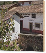 Old Stone Bridge In Historic Hillside Village Of San Sebastian D Wood Print