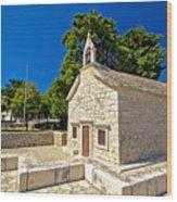 Old Stone Chapel In Primosten Wood Print