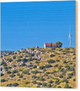 Old Stone Church And Green Energy Plant Wood Print