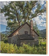 Old Stone Ranch Structure Wood Print