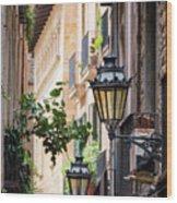 Old Street Light In Barcelona, Spain Wood Print