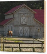Old-style Horse Barn Wood Print