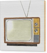 Old Television Set Wood Print