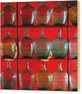 Old Tequila Jugs By Darian Day Wood Print