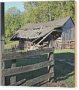 Old Tilted Barn Indiana Wood Print