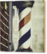 Old Time Barber Pole Wood Print