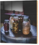 Old-time Canned Goods Wood Print